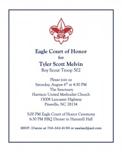 Boy Scout Eagle Invitations http://troop502.com/2011/07/25/eagle-scout-court-of-honor-for-tyler-melvin/